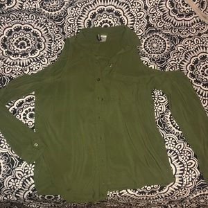 Army green button up long sleeve